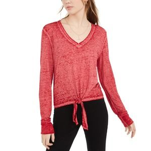 Chili Pepper Red Textured Tie-Waist Top